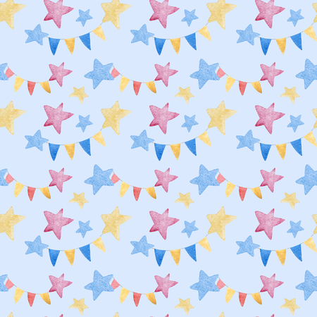 pattern: Watercolor illustrations of stars and Checkboxes. Cute seamless pattern. Stock Photo