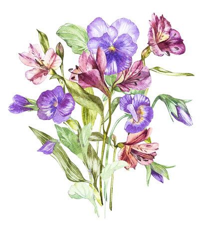 Spring flowers Pansy and Alstroemeria tree isolated on white background. Watercolor hand drawn illustration.