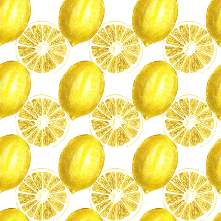 Lemon watercolor seamless pattern. Beautiful hand drawn texture. Romantic background for web pages, wedding invitations, textile, wallpaper. Stok Fotoğraf