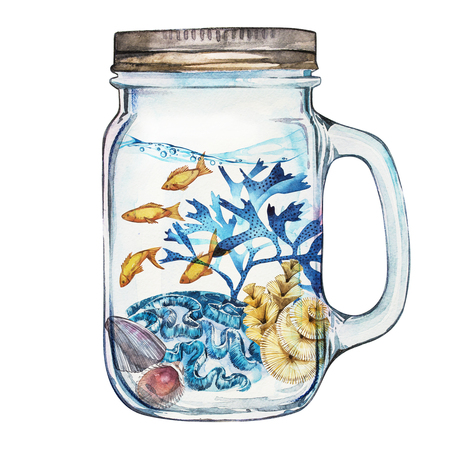 Isoleted Tumbler with Marine Life Landscape. Aquariumconcept voor posters, T-shirts, labels, websites, briefkaarten.
