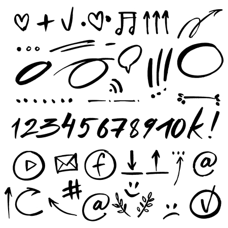 quantity: Hand drawn signs and numbers for social networks. Sale in the store and phone number. Arrows and dots. EPS 10