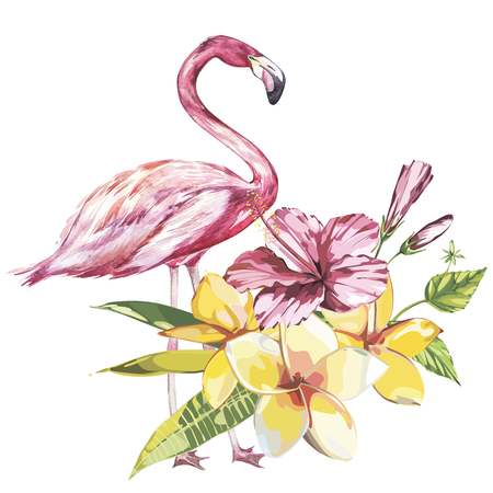 Pink flamingo watercolor illustration isolated on white background. Hand drawn sketch with palm leaf, plumeria and a pink hibiscus flowers. Stock Photo