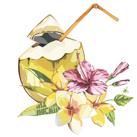Vector coconut hand drawn sketch with plumeria and a pink hibiscus flowers. Watercolor vector tropical food illustration. Isolated on white background Illustration