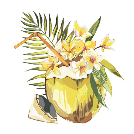 Vector coconut hand drawn sketch with palm leaf, plumeria flowers. Watercolor vector tropical food illustration. Isolated on white background Illustration