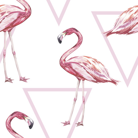 Seamless pattern with tropical Flamingo. Element for design of invitations, movie posters, fabrics and other objects. Isolated on white. Geometry set. Vector EPS 10