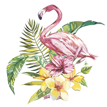 Flamingo with tropical flowers and leaf.