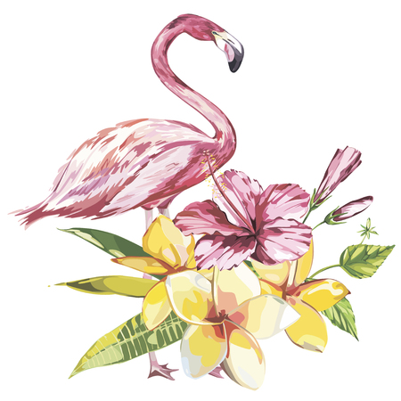 Flamingo with tropical flowers. Element for design of invitations, movie posters, fabrics and other objects. Isolated on white. Vector EPS 10 Illustration