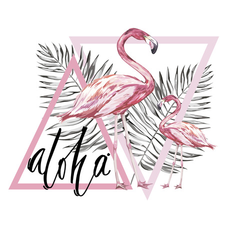 Word- Aloha. Two flamingos with tropical leaves. Element for design of invitations, movie posters, fabrics and other objects. Isolated on white. Geometry set. Vector EPS 10