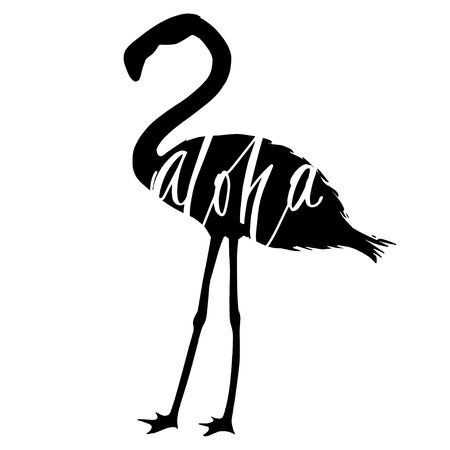 Creative lettering quotes in the flamingo shape, for cards, posters, banners.