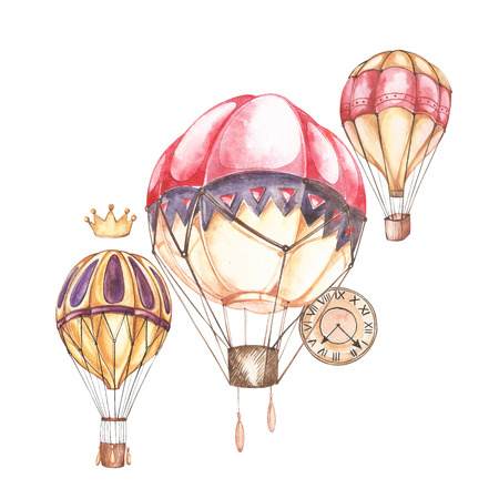 Composition with hot air balloons and blimps, watercolor illustration. Element for design of invitations, movie posters, fabrics and other objects. Stockfoto
