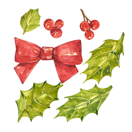 children painting: Christmas set with xmas mistletoe and berries. Watercolor illustrations isolated on white background.