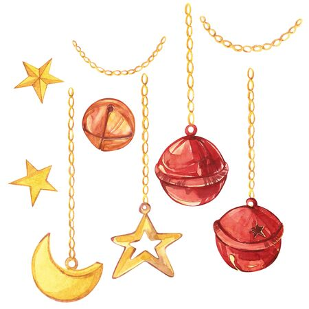 Watercolor christmas collection. Hand painted holiday elements isolated on white background. A crescent, a star and bells hang on gold chains.