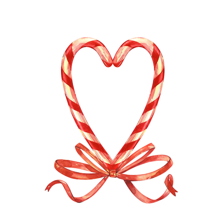 Lollipop, Heart laid out with Christmas candies with a Bow. Elements for a Christmas card. Watercolor illustration isolated on white background.