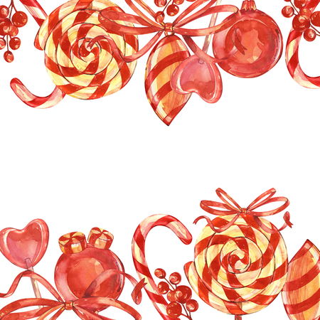 Lollipops with a Christmas stick, Berries with a Bow. Handmade drawing. Elements for a Christmas card. Colored horizontal rectangle frame with space for text.