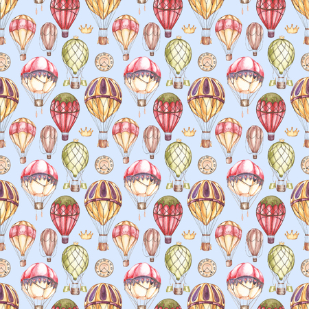 Composition with hot air balloons and blimps, watercolor illustration. Seamless pattern. 스톡 콘텐츠