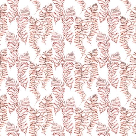 Seaweed sea life. Watercolor hand drawn painted illustration. Seamless pattern.