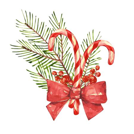 Christmas candy cane with xmas tree. Watercolor illustrations isolated on white background. Banco de Imagens
