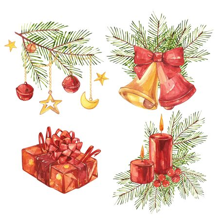 Set of Vintage Christmas illustrations. Christmas candle, tree and decorations. Watercolor design isolated on white background. Stock Photo