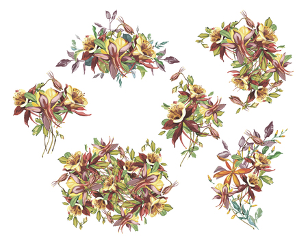 Big Set summer flower frame in a watercolor style isolated. Full name of the plant: Crocosmia, Aquilegia. Aquarelle flower could be used for background, texture, wrapper pattern, frame or border.