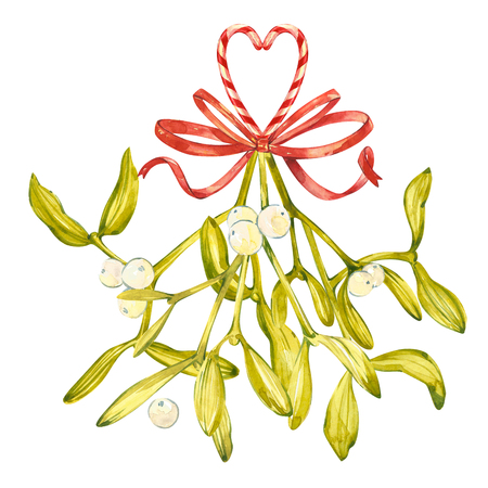 postcard background: Watercolor illustration of green mistletoe. The Symbol of a Kiss. Christmas set isolated on white background. Hand Painted lement for a postcard. Stock Photo