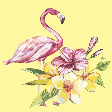 Flamingo with tropical flowers. Element for design of invitations, movie posters, fabrics and other objects.