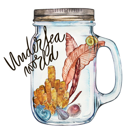 star fish: Word-Undersea world. Isoleted Tumbler with Marine Life Landscape - the ocean and the underwater world with different inhabitants. Aquarium concept for posters, T-shirts, labels, websites, postcards