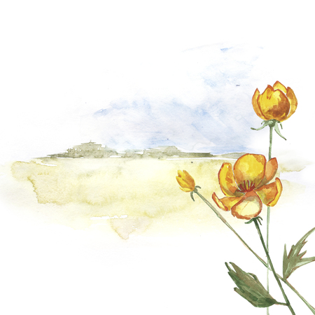 Flower on a background of a landscape. A ready postcard. Place for text.