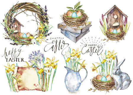 Set Hand drawn watercolor art eggs with Spring flowers. Isolated illustration on white background. Lettering - Happy Easter. Stock Illustration - 89288884