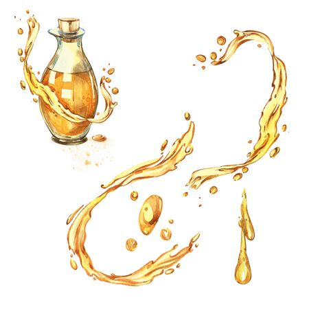Bottle of olive oil isolated on white background. Drops and splashes of olive oil. Watercolor illustrations. Stock Photo
