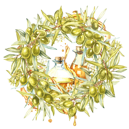 Watercolor colorful realistic wreath with ripe green olives on round white background. Stock Photo