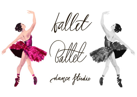 Watercolor ballerina hand painted with words Ballet school. Dancer illustration. Hand drawn lettering. Ballet calligraphy.