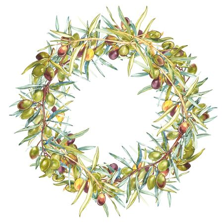 Watercolor colorful realistic wreath with ripe black and green olives on round white background. 版權商用圖片