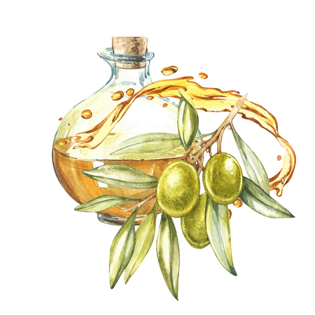 mediterranean diet: A branch of ripe green olives is juicy poured with oil. Drops and splashes of olive oil. Watercolor and botanical illustration isolated on white background