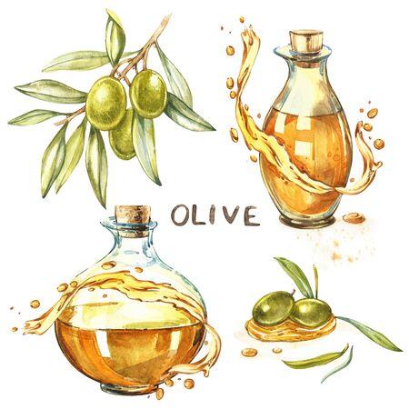 熟したグリーンオリーブの枝をセットし、ジューシーな油を注ぎました。オリーブオイルの滴と飛沫。白い背景に分離された水彩画と植物のイラス