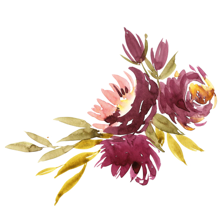 Flowers watercolor illustration. Manual composition. Spring. Summer. Stock Photo