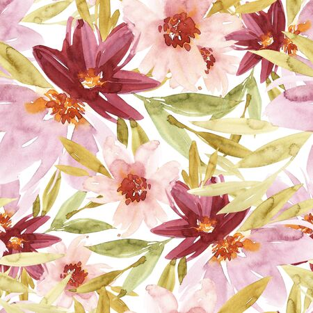 Flowers watercolor illustration. Seamless pattern. Mothers Day, wedding, birthday, Easter, Valentines Day. Pastel colors. Spring. Summer. Stock Illustration - 90807066