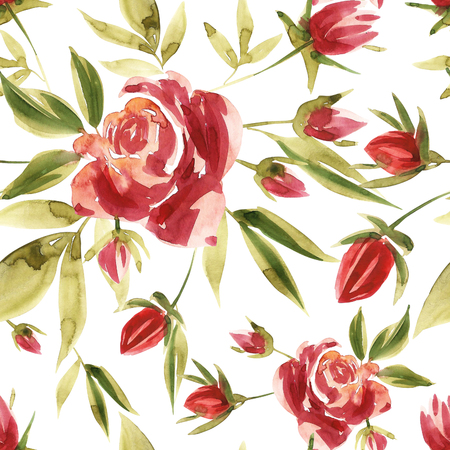 Flowers watercolor illustration. Seamless pattern. Mothers Day, wedding, birthday, Easter, Valentines Day. Pastel colors. Spring. Summer. Archivio Fotografico