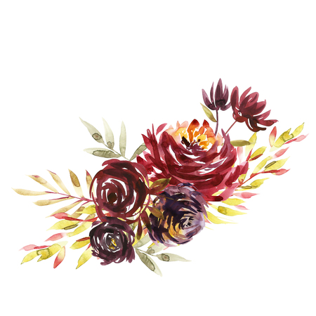 Flowers watercolor illustration. A bouquet with a big red peony and small flowers in bright colors. Watercolor horizontal composition. Stock Photo