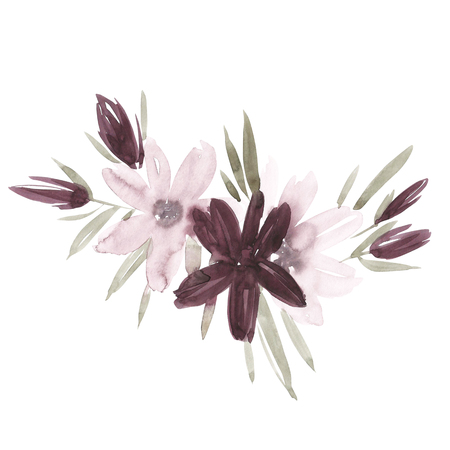 Flowers watercolor illustration. Manual composition. Mothers Day, wedding, birthday, Easter, Valentines Day. Pastel colors. Spring. Summer Stock Photo