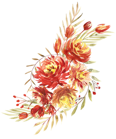 Flowers watercolor illustration. A bouquet with a big red peony and small flowers in bright colors. Watercolor vertical composition. Stock Photo