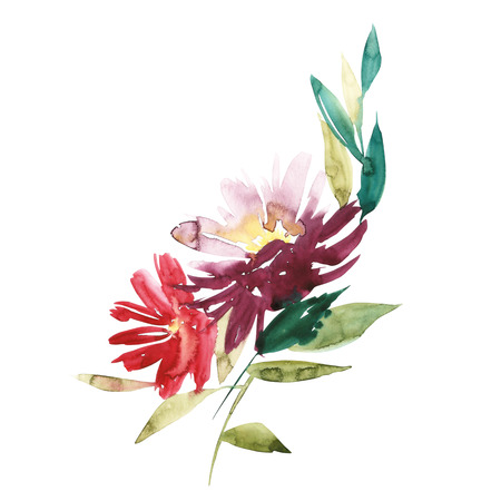 Flowers watercolor illustration. Manual composition. Mothers Day, wedding, birthday, Easter, Valentines Day. Spring. Summer. Bright colors.
