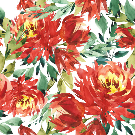 Seamless pattern with large watercolor flowers by red peonies. Elegant template for fashion prints. White background.