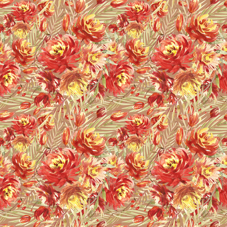 Seamless pattern with large watercolor flowers by red peonies. Elegant template for fashion prints. Olive green leaves.