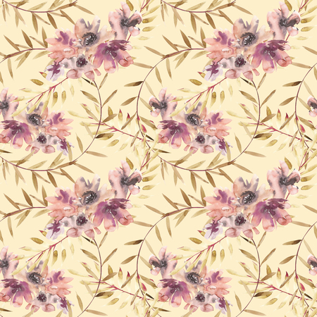 Flowers watercolor illustration. Seamless pattern. Mothers Day, wedding, birthday, Easter, Valentines Day. Pastel colors. Spring. Summer. Stock Photo