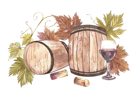 Wooden barrels and glasses of wine and leaves of grapes, isolated on white. Hand drawn watercolor illustration.