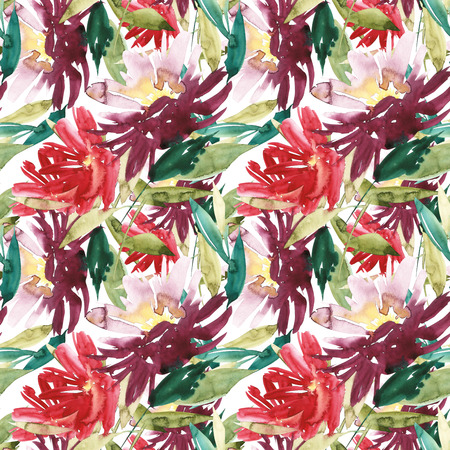 Seamless pattern with large watercolor flowers by peonies. Stock Photo