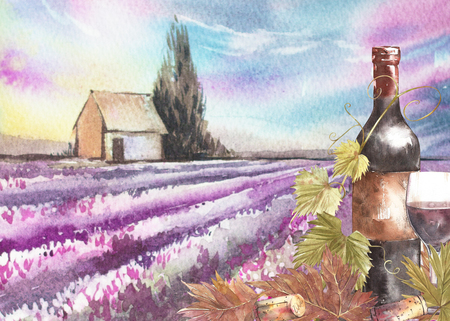 Bottles and leaves of grapes. Background with a lavender field. Watercolor illustration for postcards, scrabbuking. Hand drawn watercolor illustration. Banners of wine vintage background. Imagens