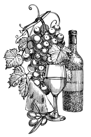Composition of a bottle of wine, two glasses, cheese, grapes and leaves with olives. Hand drawn engraving style illustrations. Banners of wine vintage background.