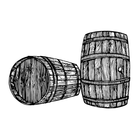 A Vector hand drawing wine barrel. Ink drawn wooden barrel in rustic style. Isolated on white background. Hand drawn engraving style illustrations. Illustration