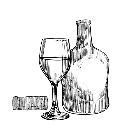 Wine bottle and glass icon.